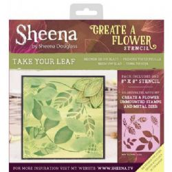 "Crafters Companion - Sheena Douglass - Create a Flower 8"" x 8"" Stencil - Take your Leaf"